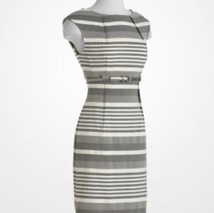 Calvin Klein striped gray and white dress